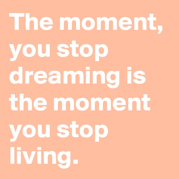 The moment, you stop dreaming is the moment you stop living.