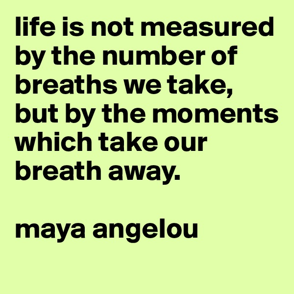 life is not measured by the number of breaths we take, but by the moments which take our breath away.   maya angelou