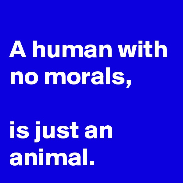 A human with no morals,  is just an animal.