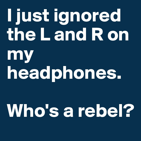 I just ignored the L and R on my headphones.  Who's a rebel?
