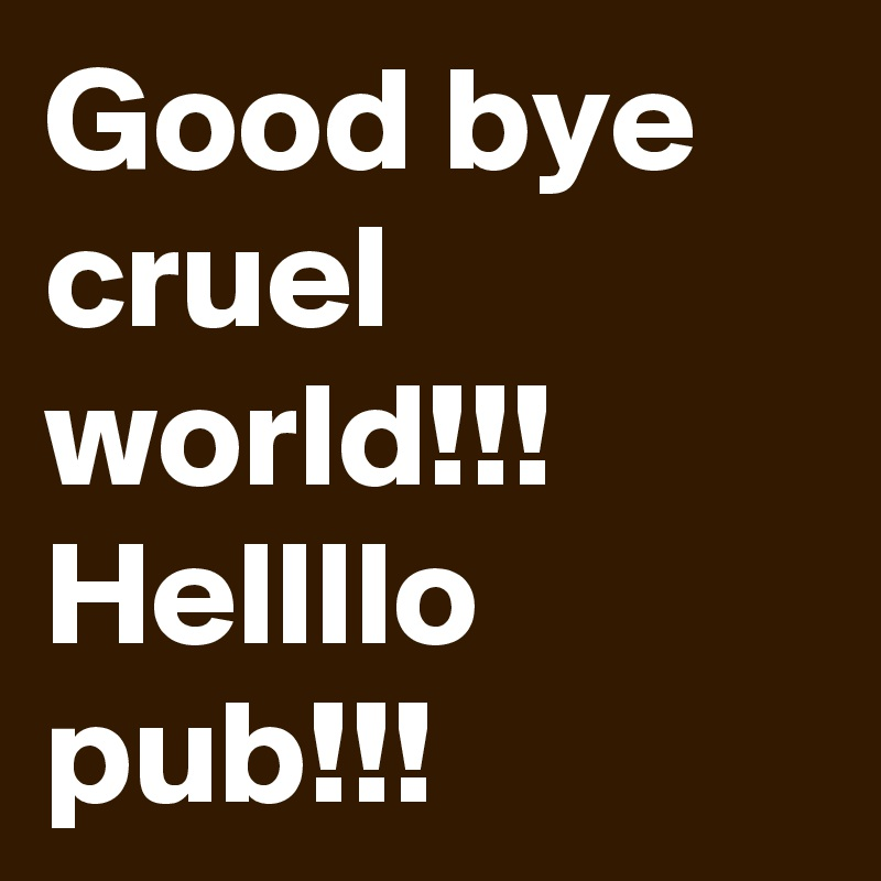 Good bye cruel world!!! Hellllo pub!!!