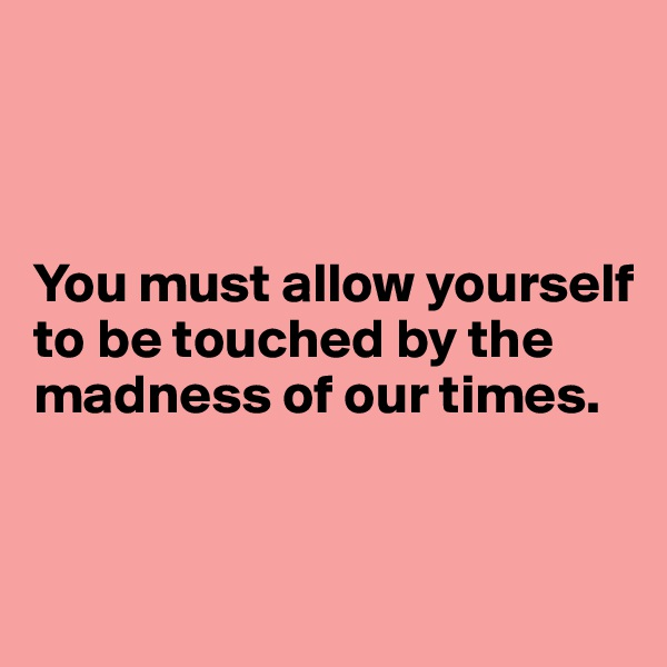 You must allow yourself to be touched by the madness of our times.