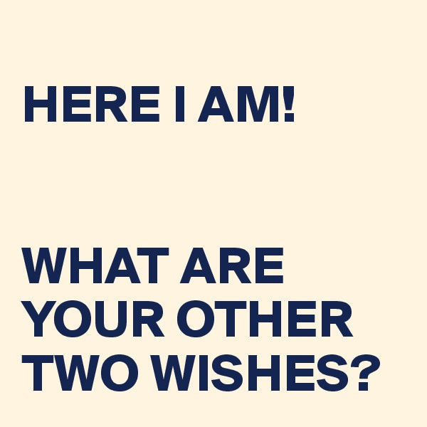 HERE I AM!   WHAT ARE YOUR OTHER TWO WISHES?