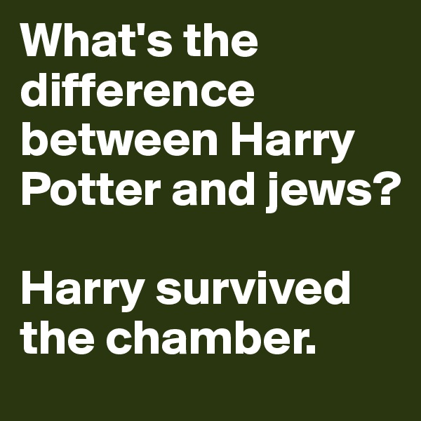 What's the difference between Harry Potter and jews?  Harry survived the chamber.