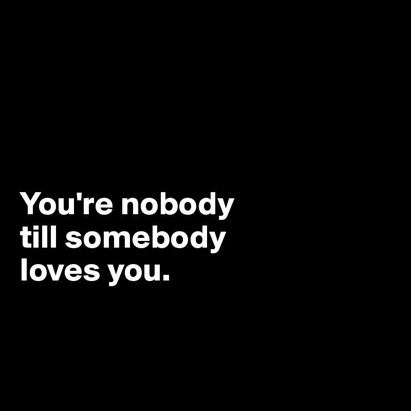 You're nobody  till somebody  loves you.