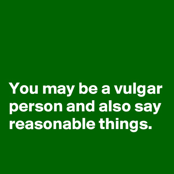 You may be a vulgar person and also say reasonable things.