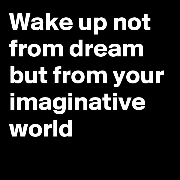 Wake up not from dream but from your imaginative world