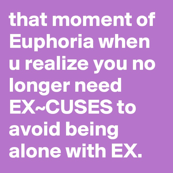 that moment of Euphoria when u realize you no longer need EX~CUSES to avoid being alone with EX.