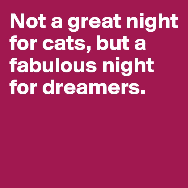 Not a great night for cats, but a fabulous night for dreamers.