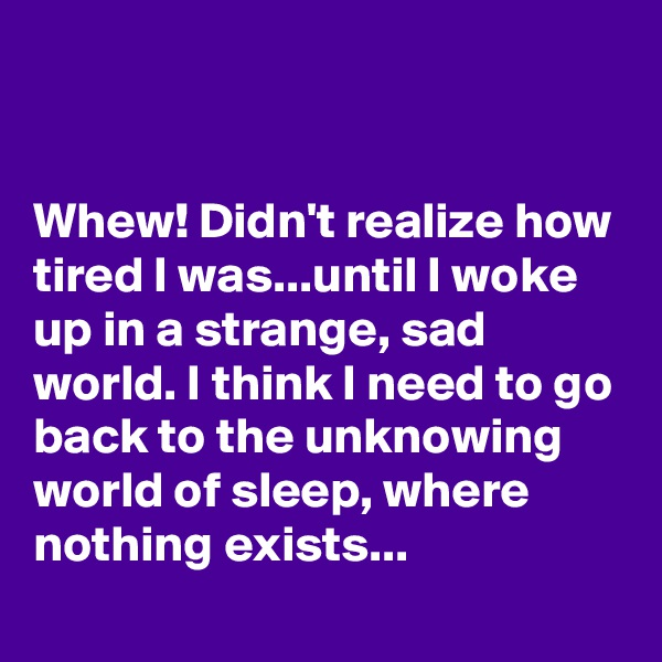 Whew! Didn't realize how tired I was...until I woke up in a strange, sad world. I think I need to go back to the unknowing world of sleep, where nothing exists...
