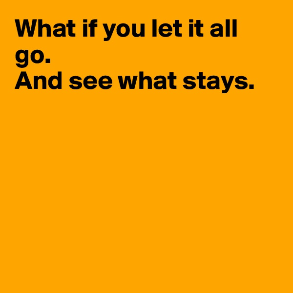 What if you let it all go. And see what stays.