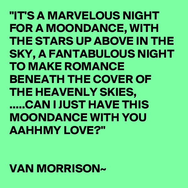 """IT'S A MARVELOUS NIGHT FOR A MOONDANCE, WITH THE STARS UP ABOVE IN THE SKY, A FANTABULOUS NIGHT TO MAKE ROMANCE BENEATH THE COVER OF THE HEAVENLY SKIES, .....CAN I JUST HAVE THIS MOONDANCE WITH YOU AAHHMY LOVE?""   VAN MORRISON~"