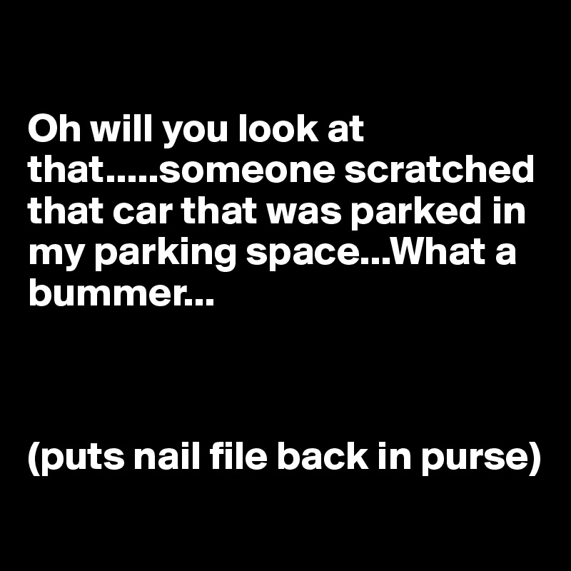 Oh will you look at that.....someone scratched that car that was parked in my parking space...What a bummer...    (puts nail file back in purse)