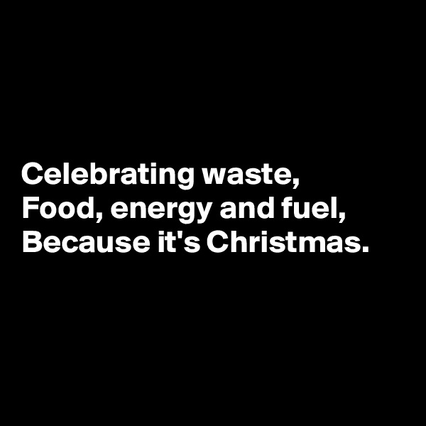 Celebrating waste, Food, energy and fuel, Because it's Christmas.