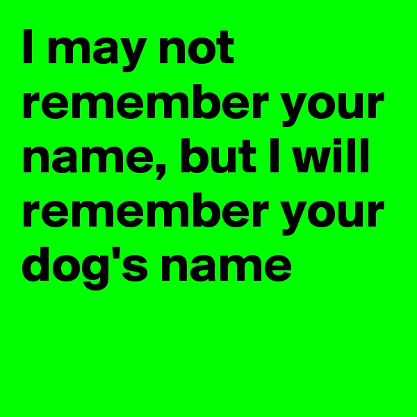 I may not remember your name, but I will remember your dog's name