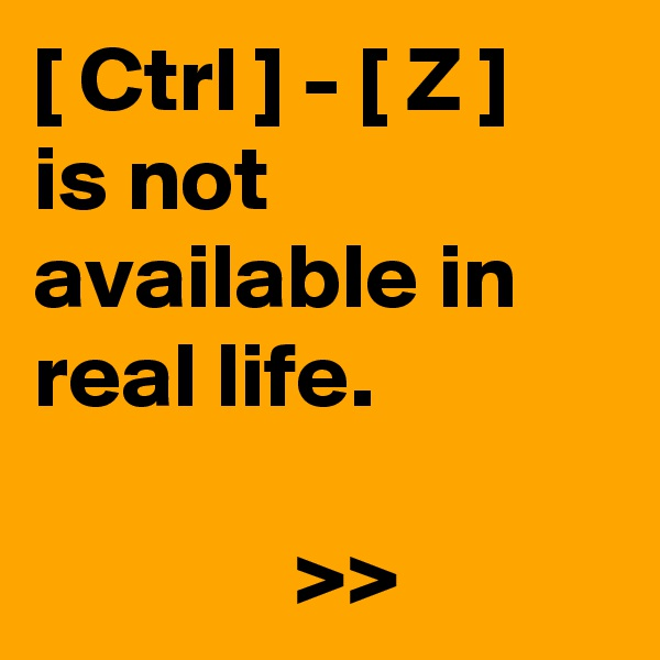 [ Ctrl ] - [ Z ] is not available in real life.                >>