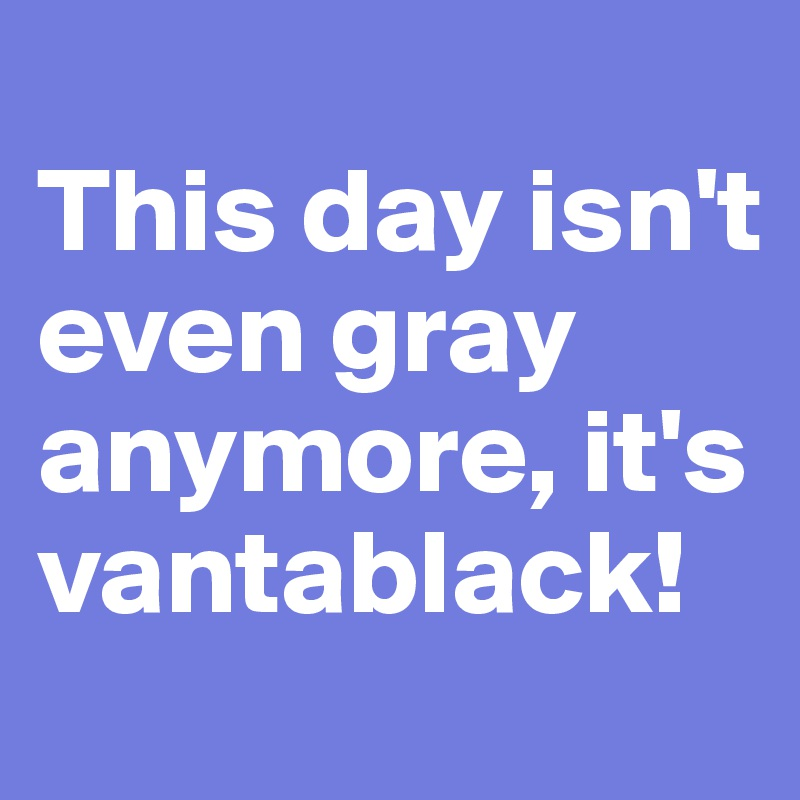This day isn't even gray anymore, it's vantablack!