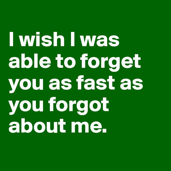 I wish I was able to forget you as fast as you forgot about me.