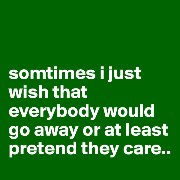 somtimes i just wish that everybody would go away or at least pretend they care..