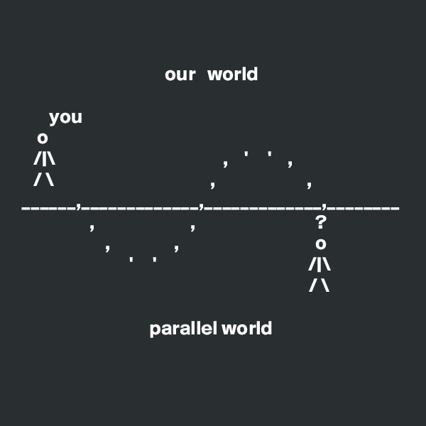 our   world                                             you                                         o                                                      /|\                                          ,    '     '    ,    / \                                       ,                       ,            ______,_____________,_____________,________                  ,                        ,                              ?                              ,                ,                                  o                              '     '                                      /|\                                                                         / \                                               parallel world