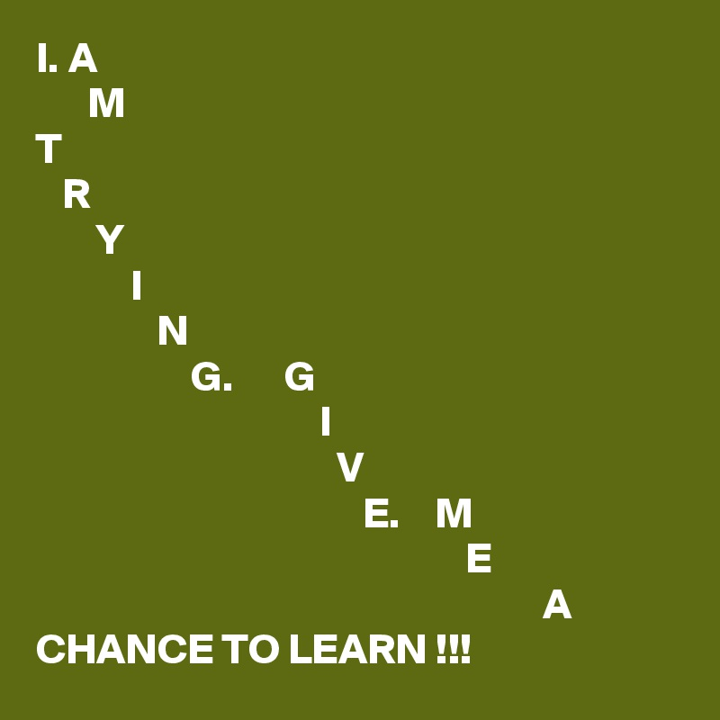 I. A       M T    R        Y            I               N                   G.      G                                  I                                    V                                       E.    M                                                   E                                                            A CHANCE TO LEARN !!!