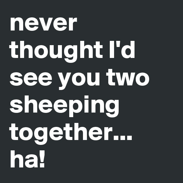 never thought I'd see you two sheeping together... ha!