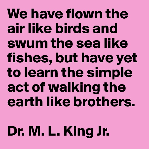 We have flown the air like birds and swum the sea like fishes, but have yet to learn the simple act of walking the earth like brothers.   Dr. M. L. King Jr.