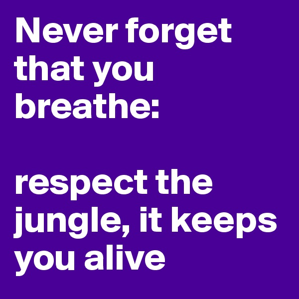 Never forget that you breathe:  respect the jungle, it keeps you alive