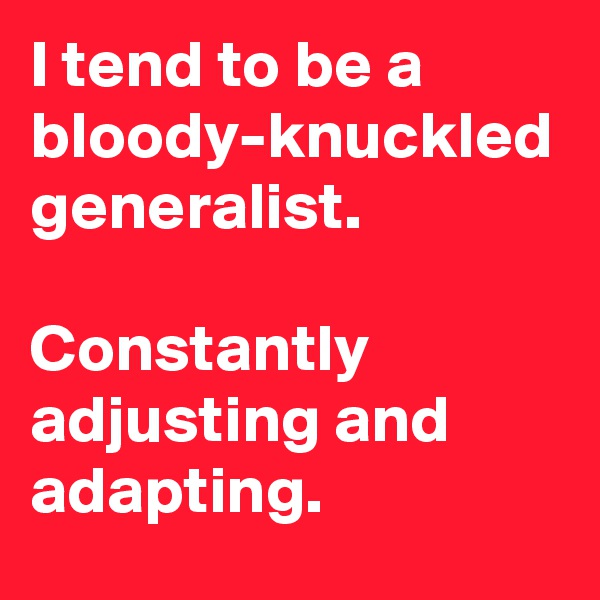 I tend to be a bloody-knuckled generalist.  Constantly adjusting and adapting.