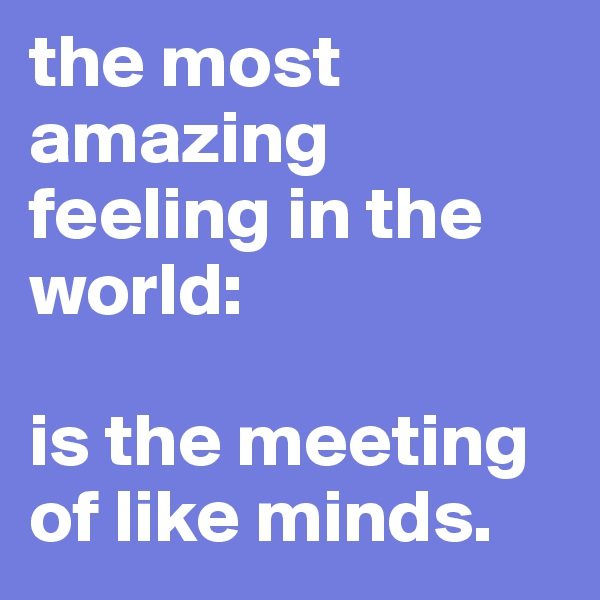 the most amazing feeling in the world:   is the meeting of like minds.