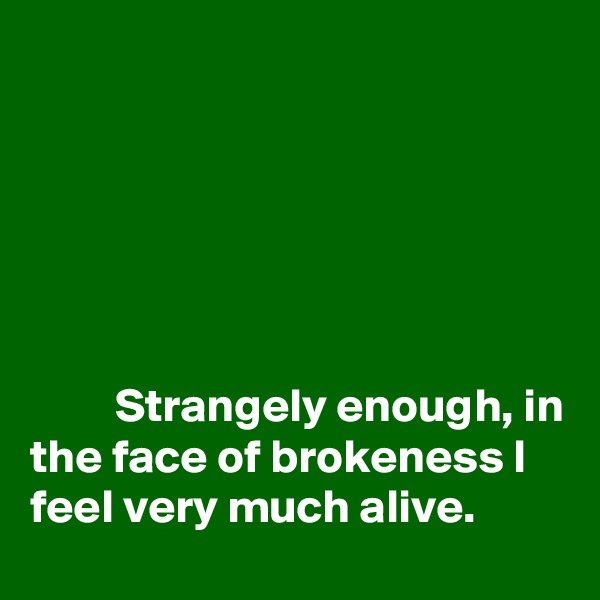 Strangely enough, in the face of brokeness I feel very much alive.