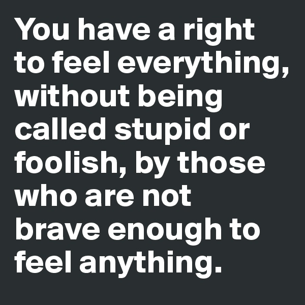 You have a right  to feel everything, without being called stupid or foolish, by those who are not brave enough to feel anything.