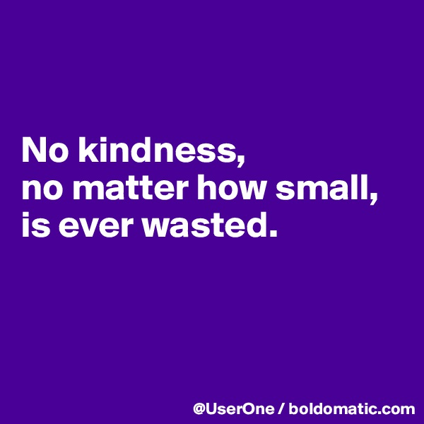 No kindness, no matter how small, is ever wasted.