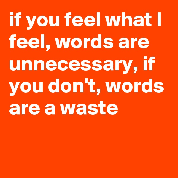 if you feel what I feel, words are unnecessary, if you don't, words are a waste