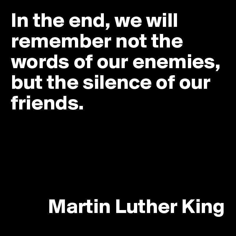 In the end, we will remember not the words of our enemies, but the silence of our friends.               Martin Luther King