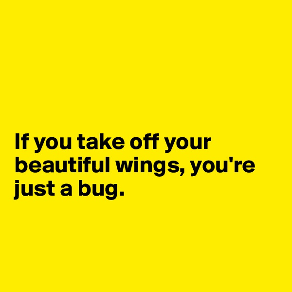 If you take off your beautiful wings, you're just a bug.