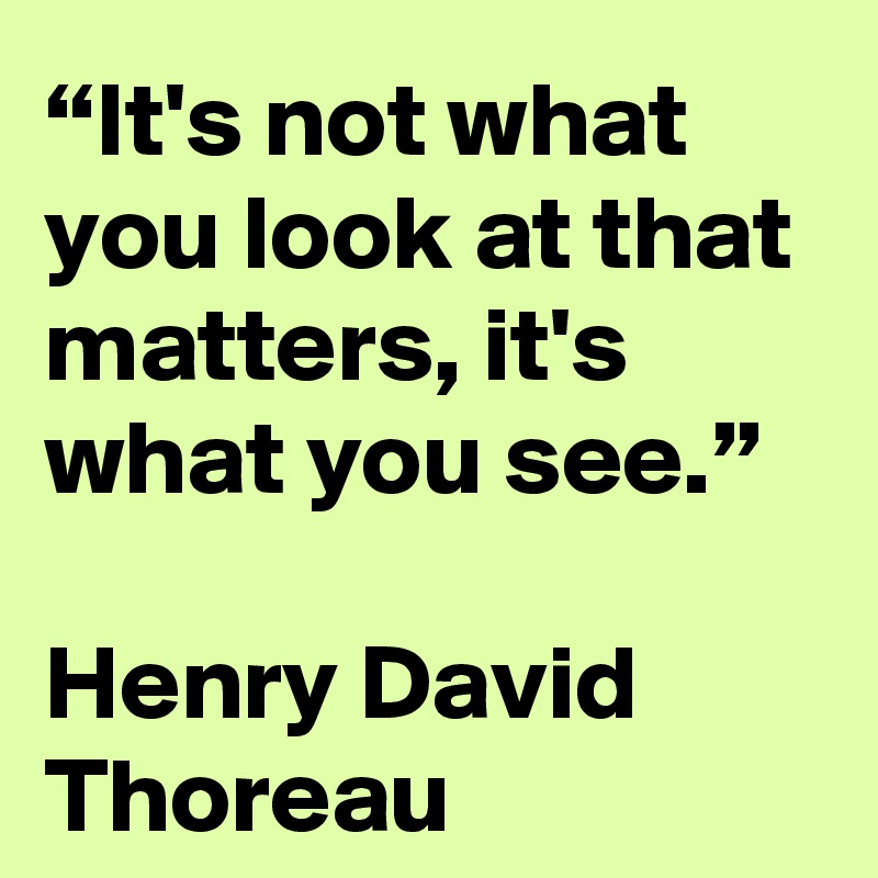 """It's not what you look at that matters, it's what you see.""  Henry David Thoreau"