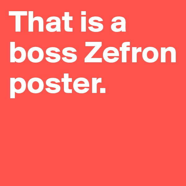 That is a boss Zefron poster.