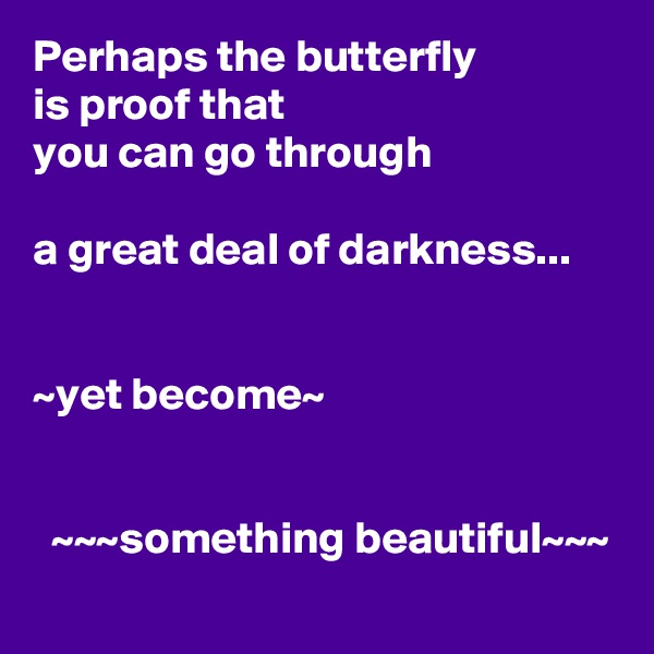 Perhaps the butterfly is proof that you can go through  a great deal of darkness...   ~yet become~     ~~~something beautiful~~~