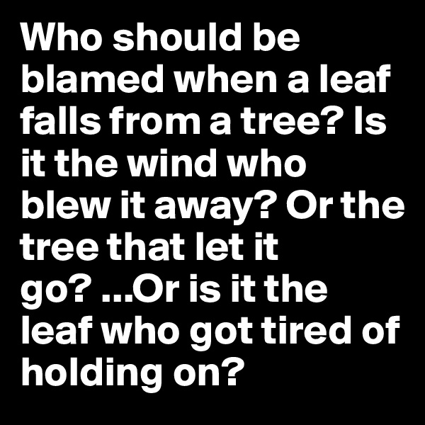 Who should be blamed when a leaf falls from a tree? Is it the wind who blew it away? Or the tree that let it go? ...Or is it the leaf who got tired of holding on?