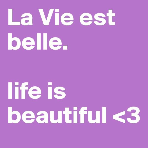 La Vie est belle.  life is beautiful <3