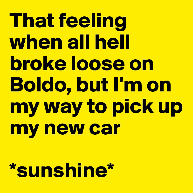 That feeling when all hell broke loose on Boldo, but I'm on my way to pick up my new car  *sunshine*