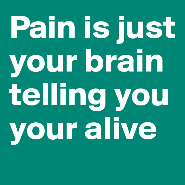 Pain is just your brain telling you your alive