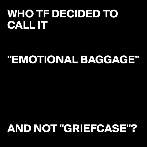"""WHO TF DECIDED TO CALL IT    """"EMOTIONAL BAGGAGE""""      AND NOT """"GRIEFCASE""""?"""