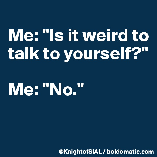 "Me: ""Is it weird to talk to yourself?""  Me: ""No."""