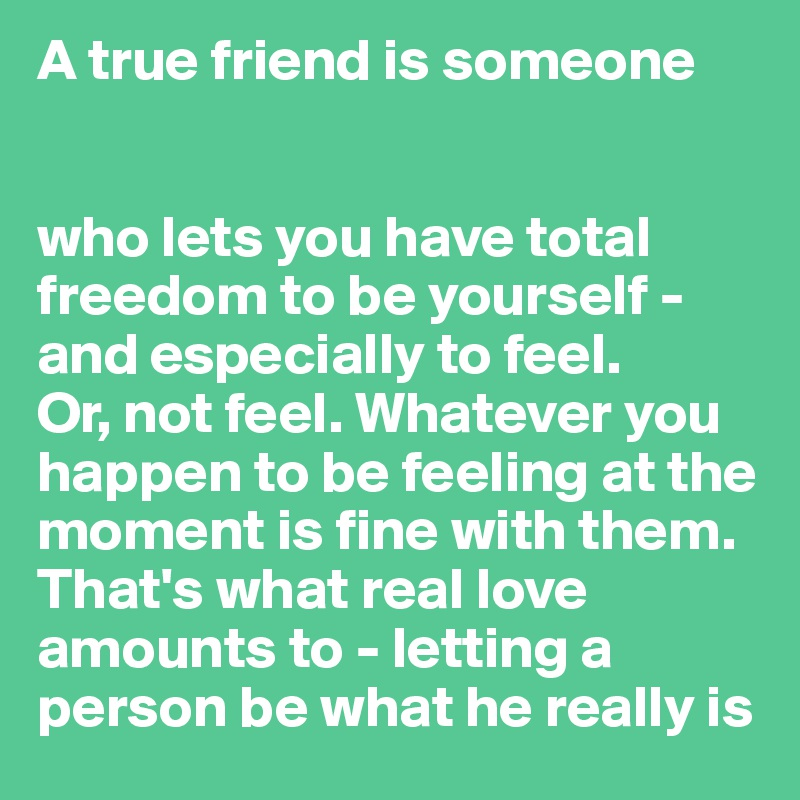 A True Friend Is Someone Who Lets You Have Total Freedom