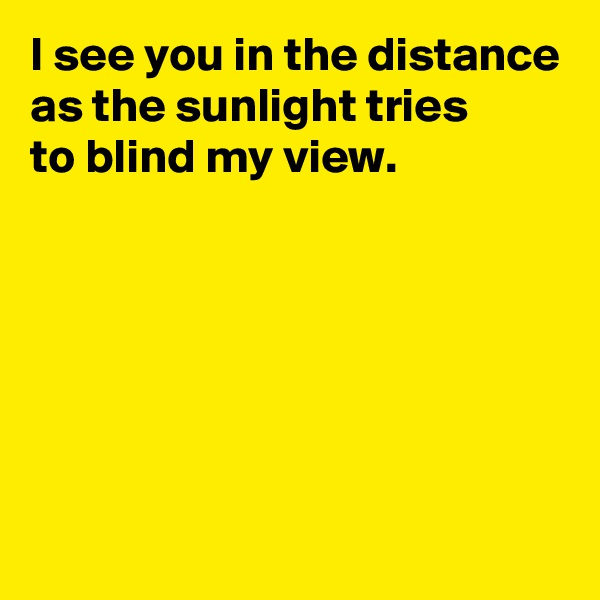 I see you in the distance as the sunlight tries  to blind my view.