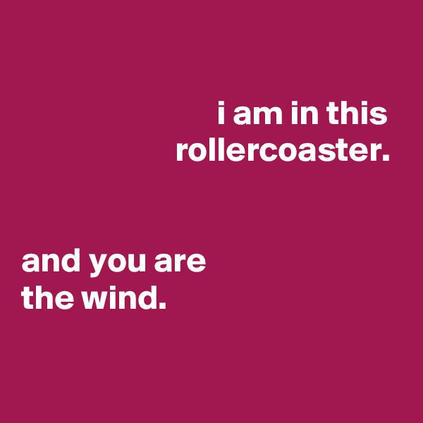 i am in this                       rollercoaster.   and you are the wind.
