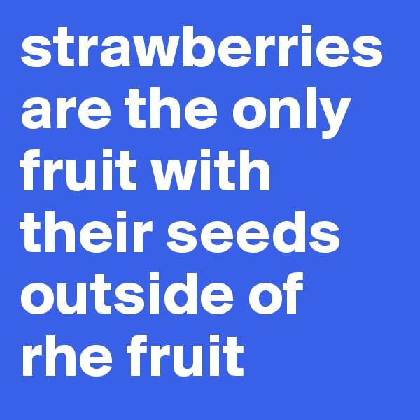 strawberries are the only fruit with their seeds outside of rhe fruit