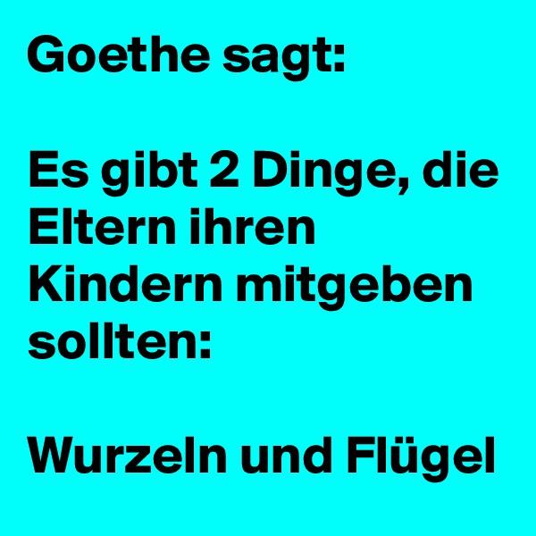 Goethe sagt:  Es gibt 2 Dinge, die Eltern ihren Kindern mitgeben sollten:   Wurzeln und Flügel